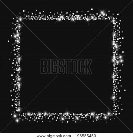 Sparkling Silver. Square Abstract Shape With Sparkling Silver On Black Background. Vector Illustrati