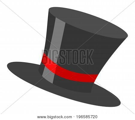Magic retro black cylinder hat illustration with red ribbon isolated on white background
