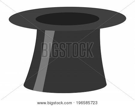 Magic retro black cylinder hat illustration isolated on white background