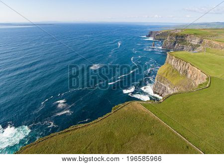 Aerial Birds Eye View From The World Famous Cliffs Of Moher In County Clare Ireland. Beautiful Irish