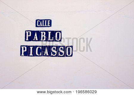 Pablo Picasso street. San Pedro de Alcantara city, Marbella, Andalusia, Spain. Picture taken - 19 july 2017.