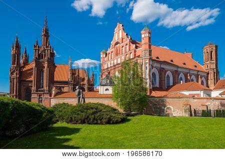 Ensemble of st Anne and Bernardine church at summer. Vilnius Lithuania.