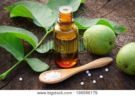 Walnuts, Bottle Of Juglans Regia Tincture And Homeopathic Globules. Homeopathy Medicine.