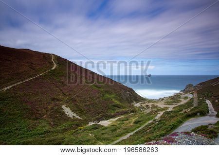 Beautiful Long Exposure Of Cornish Coastal Path