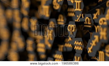 3d illustration of zodiac signs on hexagon shapes.
