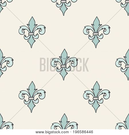 Pastel blue gray beige seamless pattern with hand drawn doodle royal floral ornament. French fleur-de-lis element. Flourish damask infinity background. Vector illustration.