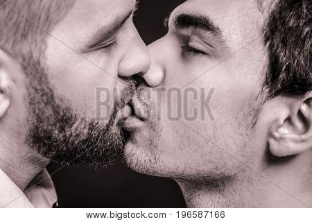 Kissing gay couple, closeup