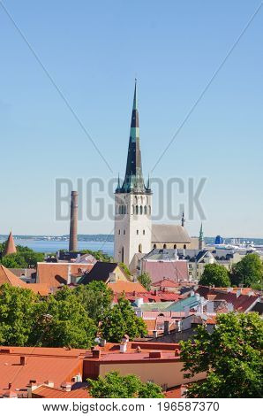 Tallin, Estonia-July 7, 2017: View over the roof tops of the City of Tallin with church and cruise ships in the harbor in the distance.