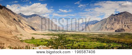 Panoramic view of Nubra Vally in Ladakh region of Kashmir, India