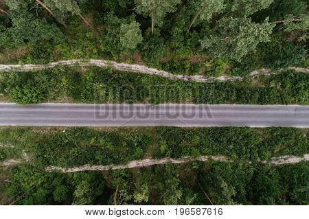 Aerial view of a forest with a road in the middle