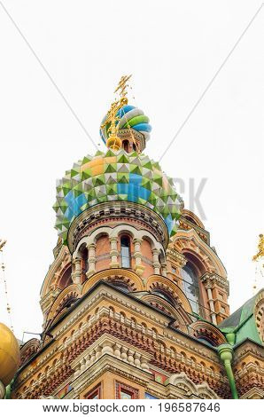 St. Petersburg, Russia-July 8, 2017:Closeup detail of the Church of our Savior on the spilled blood, supposedly built on the place Alexander II was assassinated