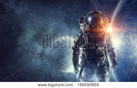 Astronaut in outer space. Mixed media