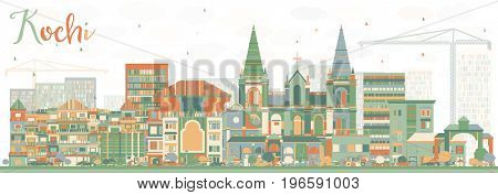 Abstract Kochi Skyline with Color Buildings. Business Travel and Tourism Concept with Historic Architecture. Image for Presentation Banner Placard and Web Site.