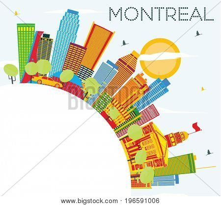 Montreal Skyline with Color Buildings, Blue Sky and Copy Space. Business Travel and Tourism Concept with Historic Architecture. Image for Presentation Banner Placard and Web Site.