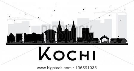 Kochi City skyline black and white silhouette. Simple flat concept for tourism presentation, banner, placard or web site. Cityscape with landmarks.