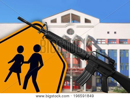 Children crossing sign with rifle and building on background. School shooting concept