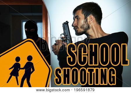 Man with gun hiding behind wall from terrorist in classroom. School shooting concept