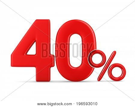 Fourty percent on white background. Isolated 3D illustration