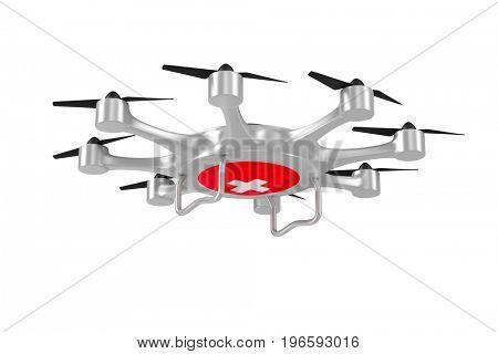 ambulance octocopter on white background. Isolated 3d illustration