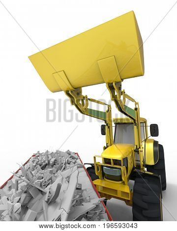 Industrial background with skip and bulldozer 3d rendering