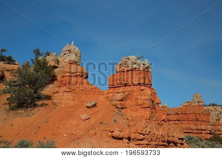 Red canyon on the road to Bryce canyon national park in Utah, USA