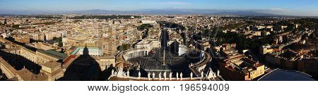 Stitched Panorama.Historical sights of the ancient city of Rome