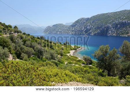 view of Camellia island in Hisaronu Bay, Aegean sea, Turkey