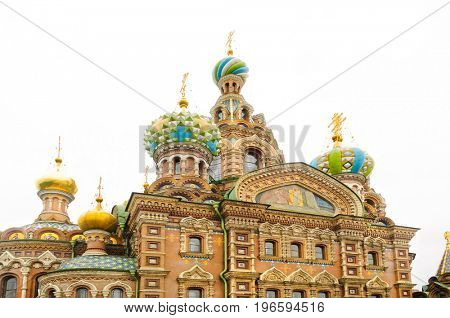 St. Petersburg, Russia-July 08, 2017: Closeup detail of the Church of our Savior on the spilled blood