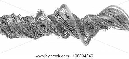 3d illustration of twisting metal wires. isolated on white.