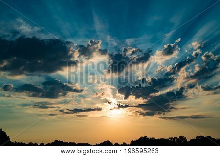 Sunset sky clouds background