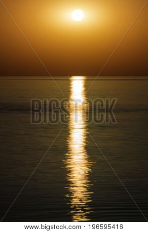 sunset on calm sea