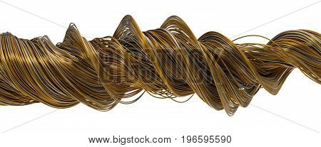 3d illustration of twisting gold and steel wires isolated on white.