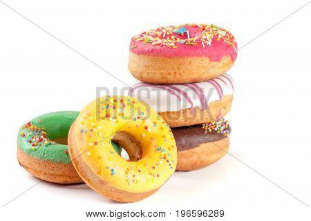 five glazed donut isolated on white background.