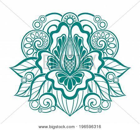 Floral Design Element In Doodle Line Style