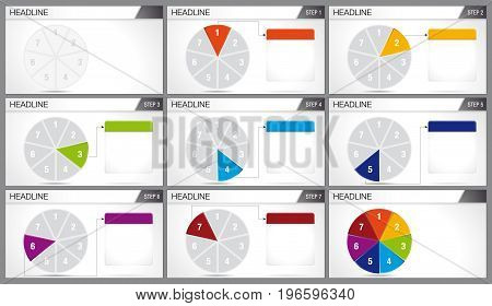 Circular pie divided into 7 equal parts are illuminated in sequence on white background. Elements for infographics, use in presentation. Vector image