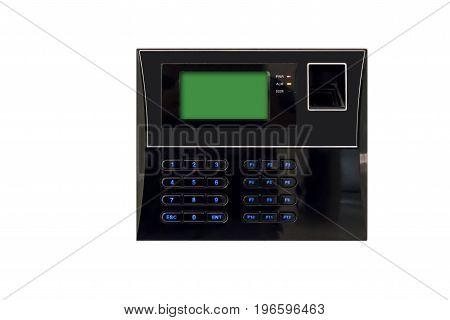 Black Biometric Scan With Fingerprint Sensor And Digital Screen