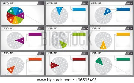 Circular pie divided into 8 equal parts are illuminated in sequence on white background. Elements for infographics, use in presentation. Vector image