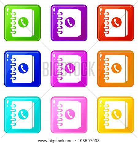 Address book icons of 9 color set isolated vector illustration