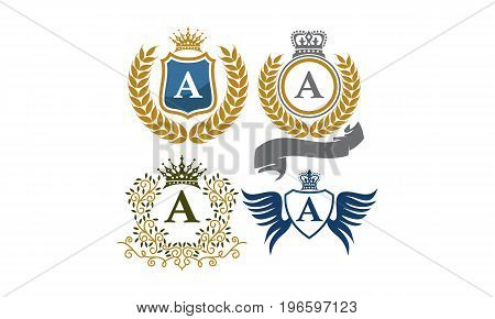 This image describe about Crown Shield Leaves Ribbon Wings Letter A