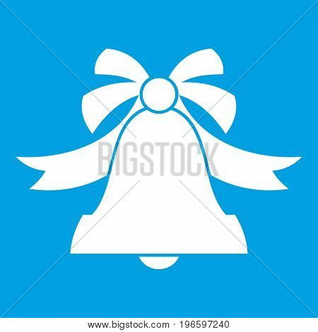 Bell icon white isolated on blue background vector illustration