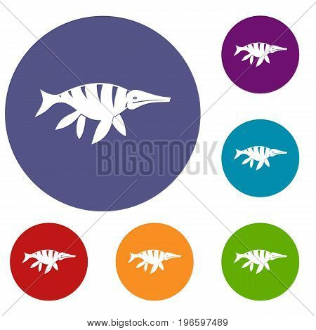 Aquatic dinosaur icons set in flat circle red, blue and green color for web
