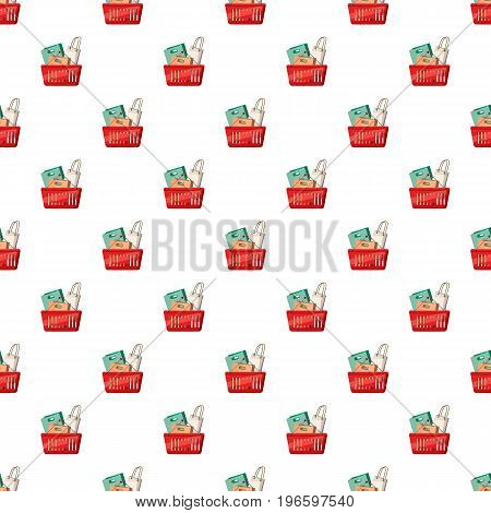 Basket of shopping bags pattern seamless repeat in cartoon style vector illustration