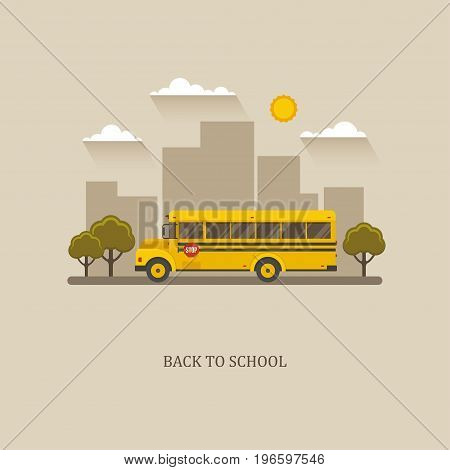 School bus flat illustration with city landscape on a background.