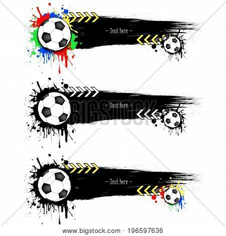 Set Grunge Banners With Blots And Soccer Balls