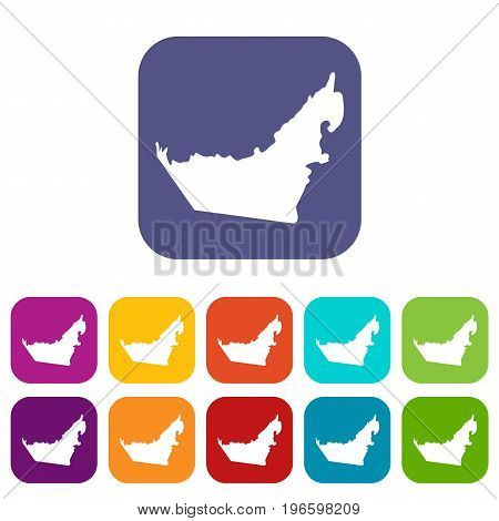 United Arab Emirates map icons set vector illustration in flat style in colors red, blue, green, and other