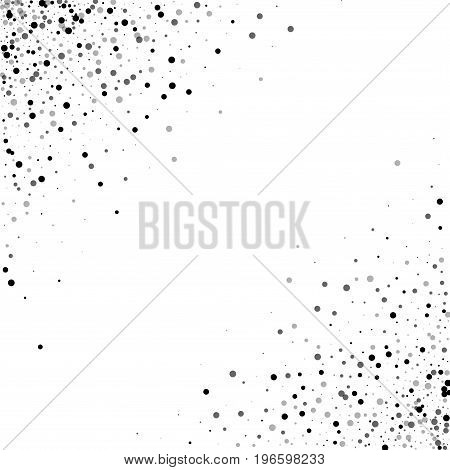 Dense Black Dots. Scatter Abstract Corners With Dense Black Dots On White Background. Vector Illustr