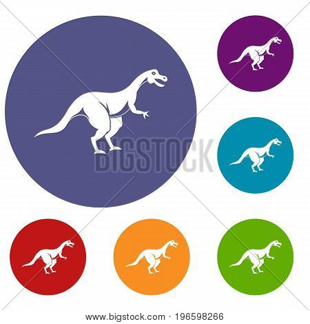Theropod dinosaur icons set in flat circle red, blue and green color for web