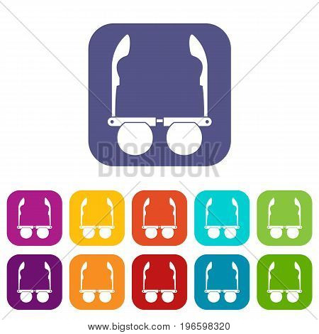 Glasses with black round lenses icons set vector illustration in flat style in colors red, blue, green, and other