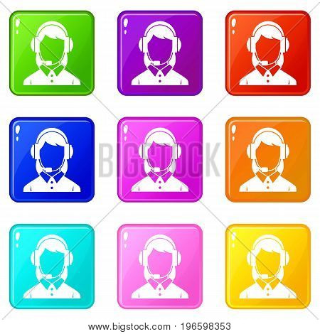 Business woman with headset icons of 9 color set isolated vector illustration