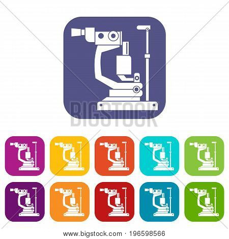 Phoropter icons set vector illustration in flat style in colors red, blue, green, and other